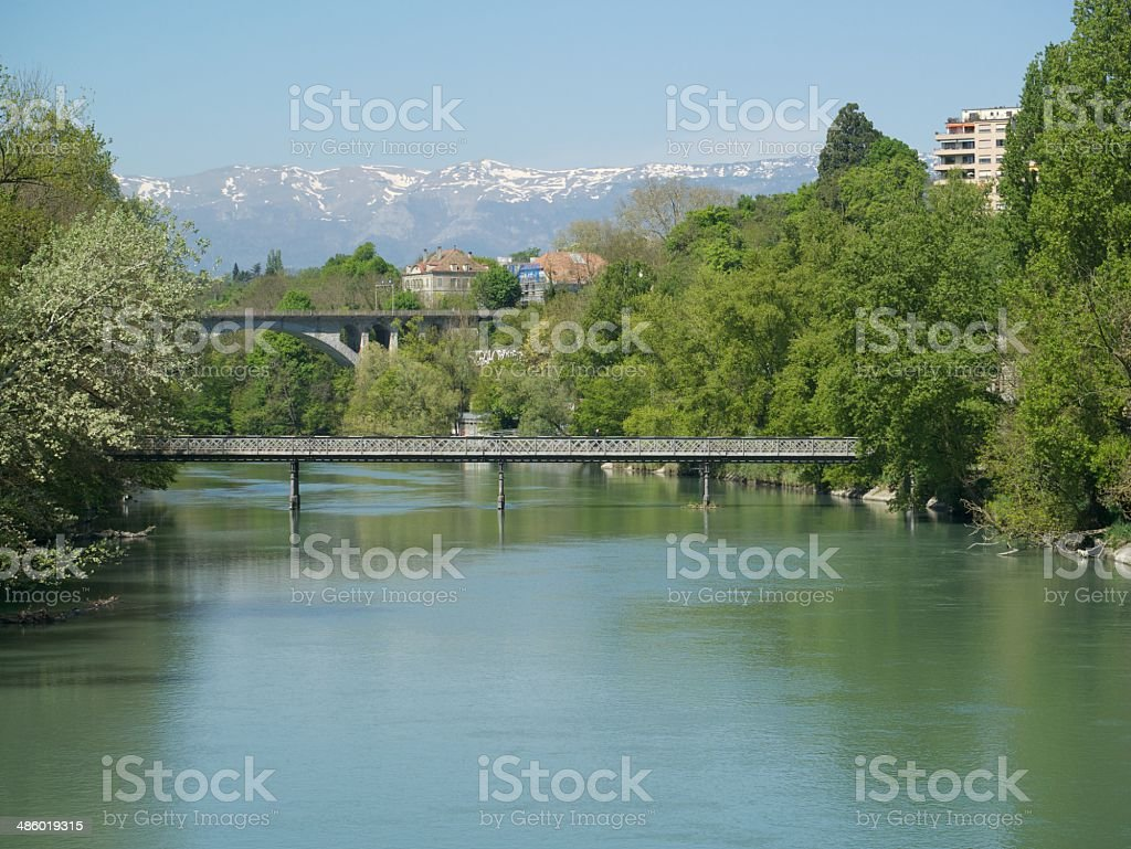 rhone geneve stock photo