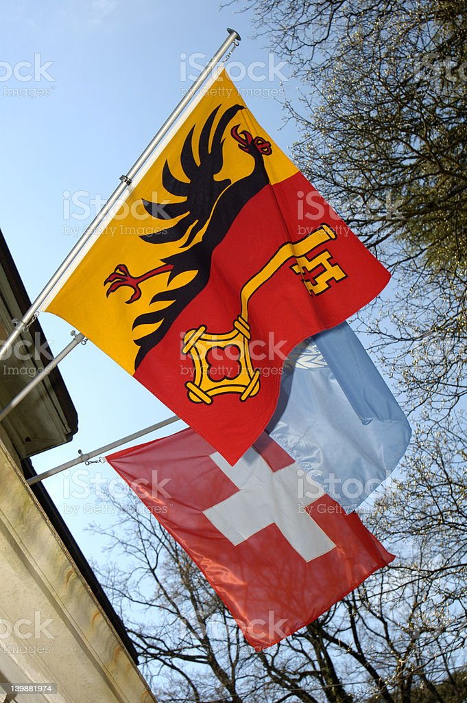 Geneva, Swiss and UN flags royalty-free stock photo