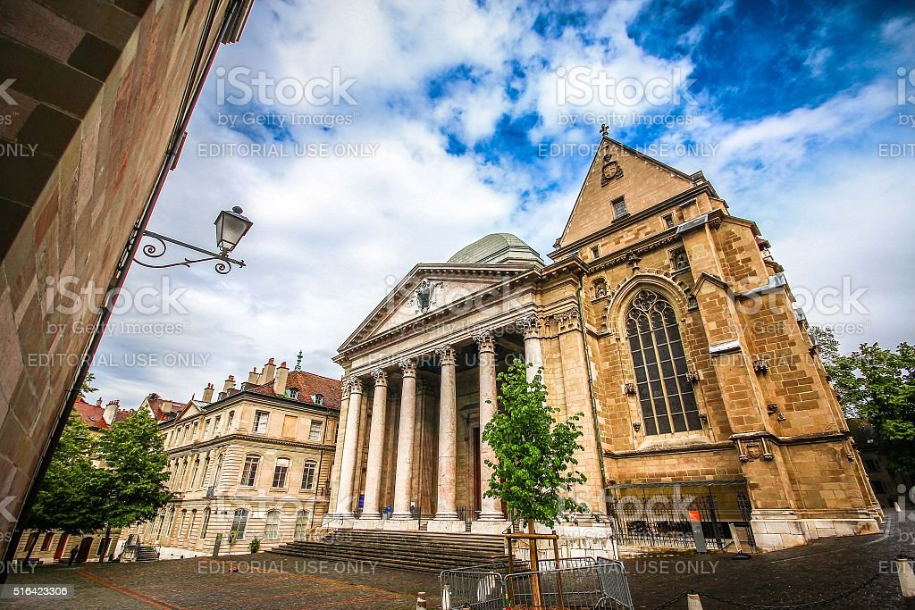 Geneva, Switzerland - May 07, 2014 - St. Pierre Cathedral stock photo