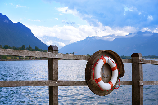 Geneve Lake Leman Geneva lifebuoy Switzerland