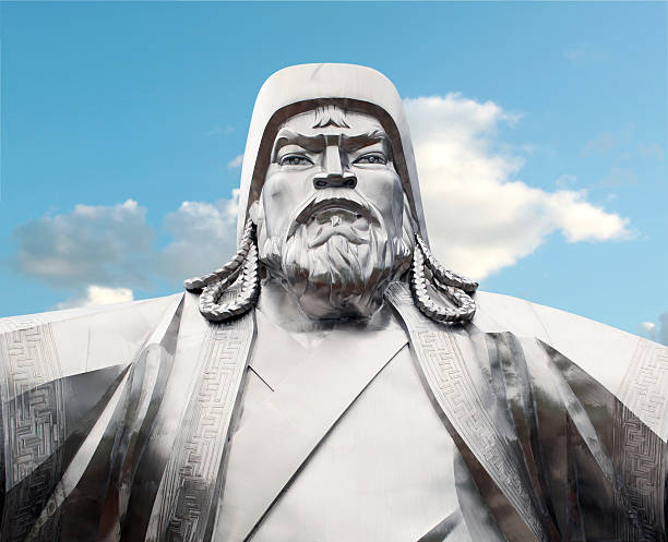 Genghis Khan - Mongolian Emperor Genghis Khan - Mongolian Emperor. Steel Statue mongolian culture stock pictures, royalty-free photos & images