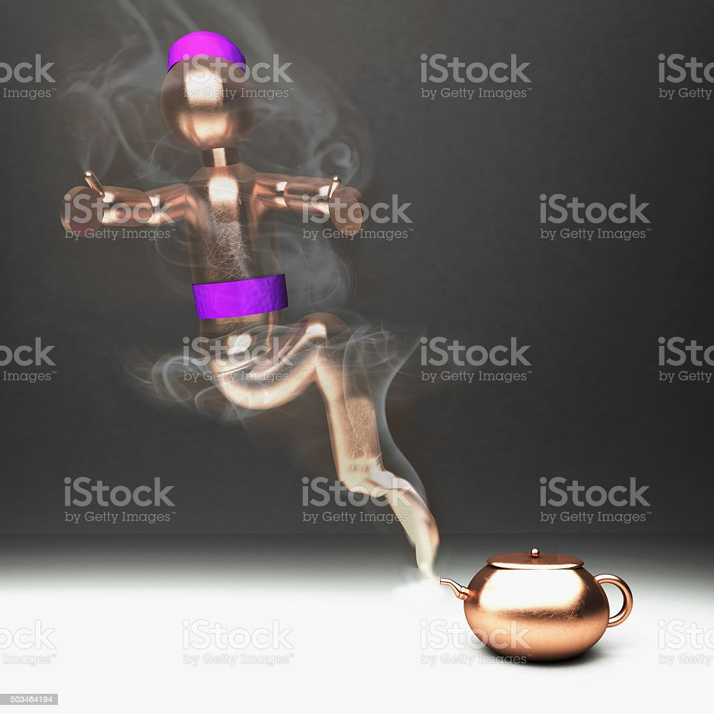 Genie from a teacup stock photo