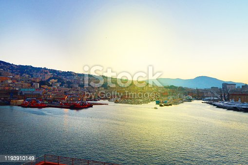 istock Genoa, Italy-October 13, 2018: panorama of the old port with harbour cranes, pier, yachts, sea view, early morning, dusk and early sunrise 1193910149