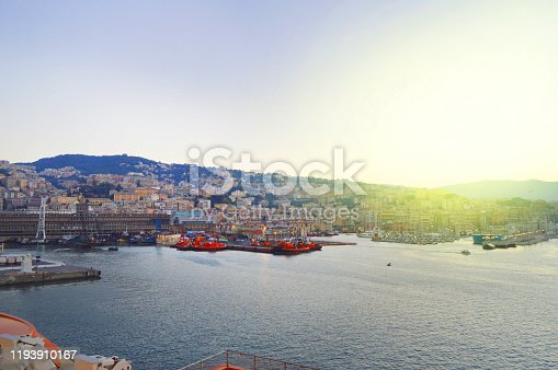 istock Genoa, Italy-October 13, 2018: panorama of the old port with harbour cranes, pier, yachts, sea view, early morning, dusk and early sunrise 1193910167