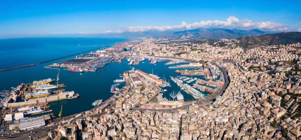 Genoa port aerial panoramic view stock photo