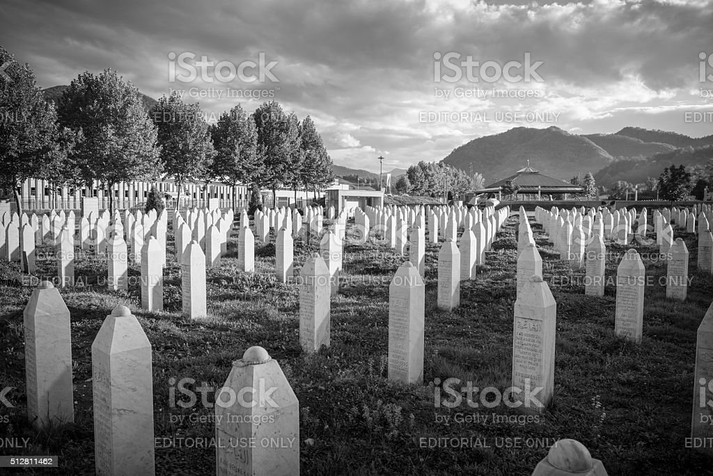 Genocide and cemetery in Srebrenica, Bosnia stock photo