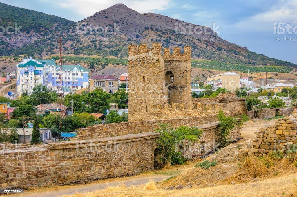 Genoese fortress in Sudak, Crimea foto stock royalty-free