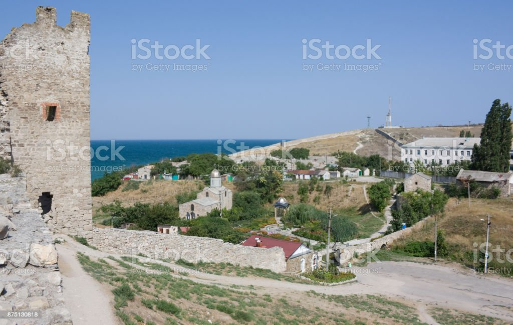 Genoese fortress in Theodosia. Crimea stock photo