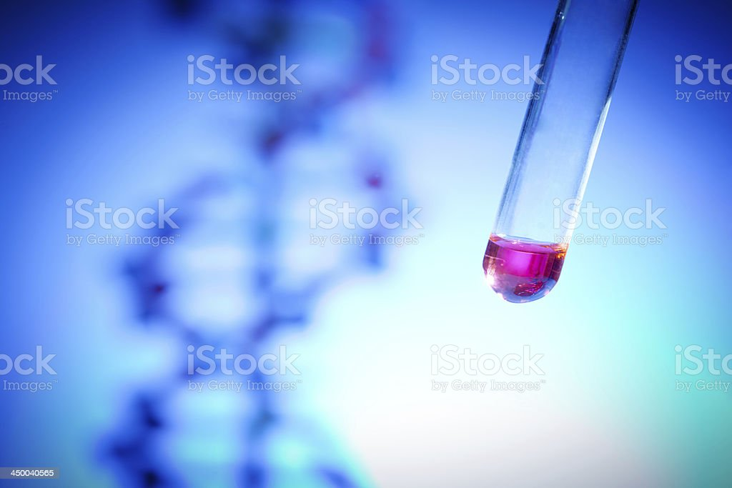 Genome Project with DNA Genetic Sample in Test Tube Close-up stock photo