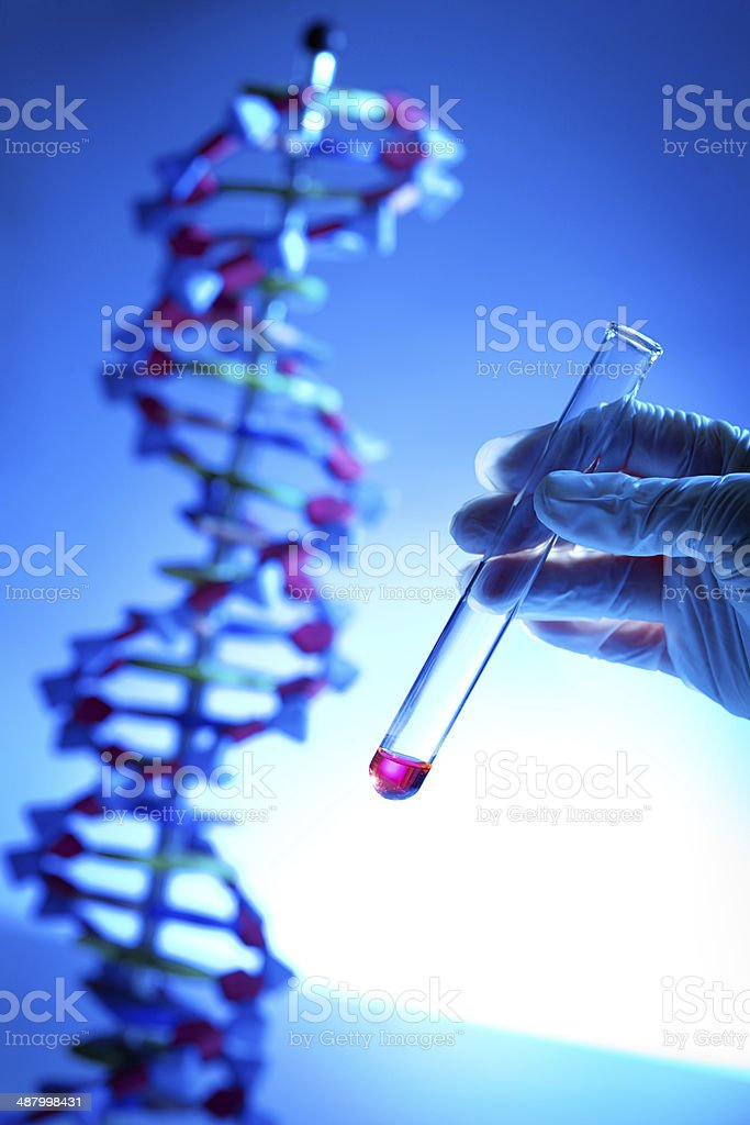Genome Project with Genetic DNA Sample in Test Tube Vertical royalty-free stock photo