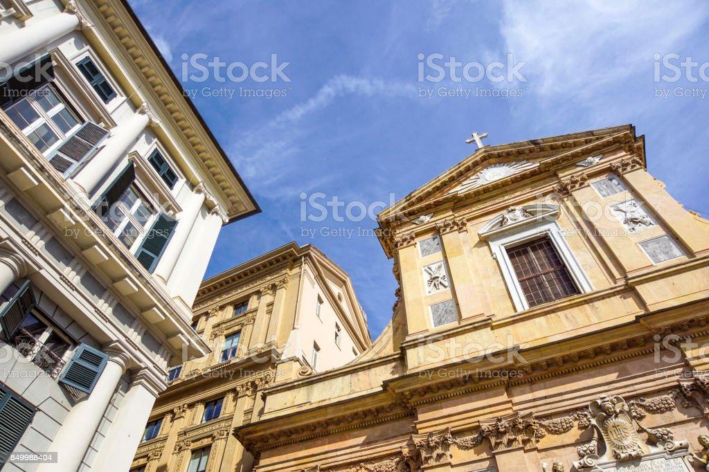 Genova colorful buildings church piazza giacomo matteotti liguria vivid italy Genoa architecture stock photo