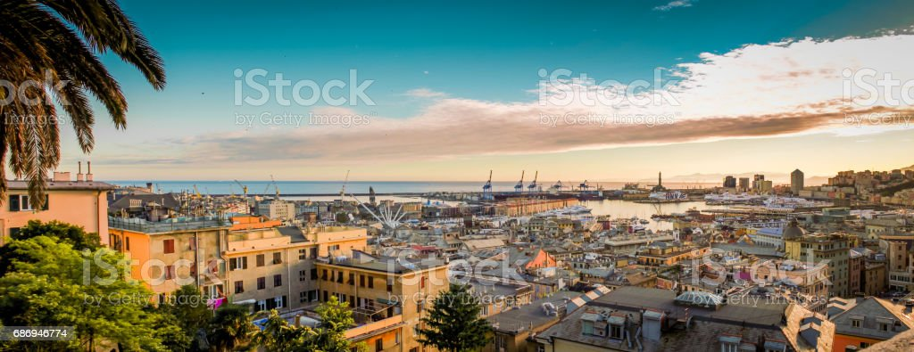 Genova old town and harbor city panorama. stock photo