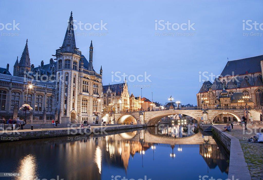 Gent - Post palace and Michael s bridge stock photo