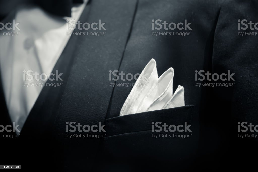 gentle man closeup groom tuxedo suit for luxury dinner black and white art tone. stock photo