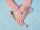 美しい女性の手の穏やかな写真
