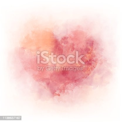Gentle pink watercolor heart - romantic ald love element, background isolated on white