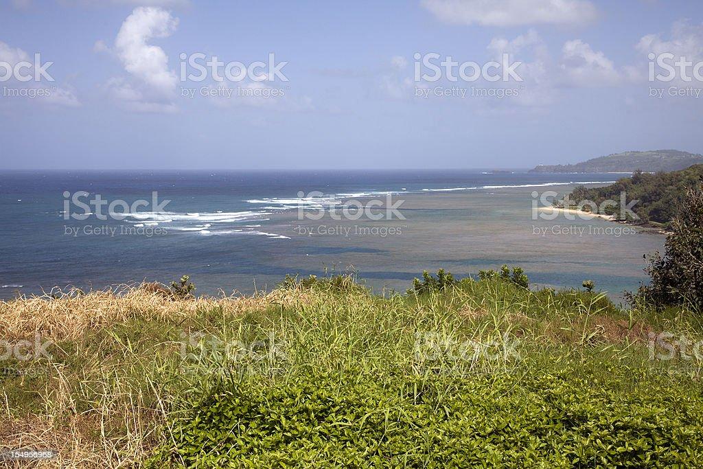 Gentle Surf And Anini Beach Kauai stock photo