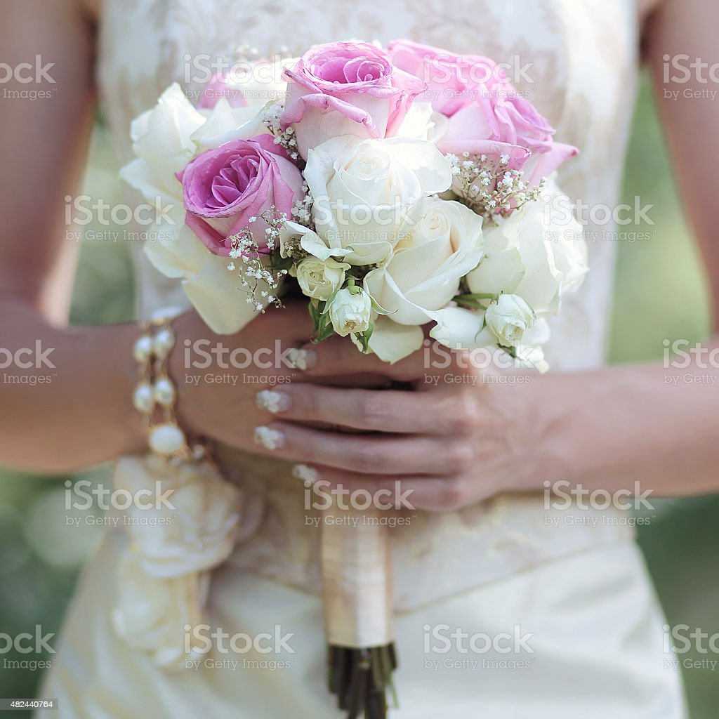 Gentle Wedding Bouquet Of Flowers In Hands Elegant Bride Stock Photo ...
