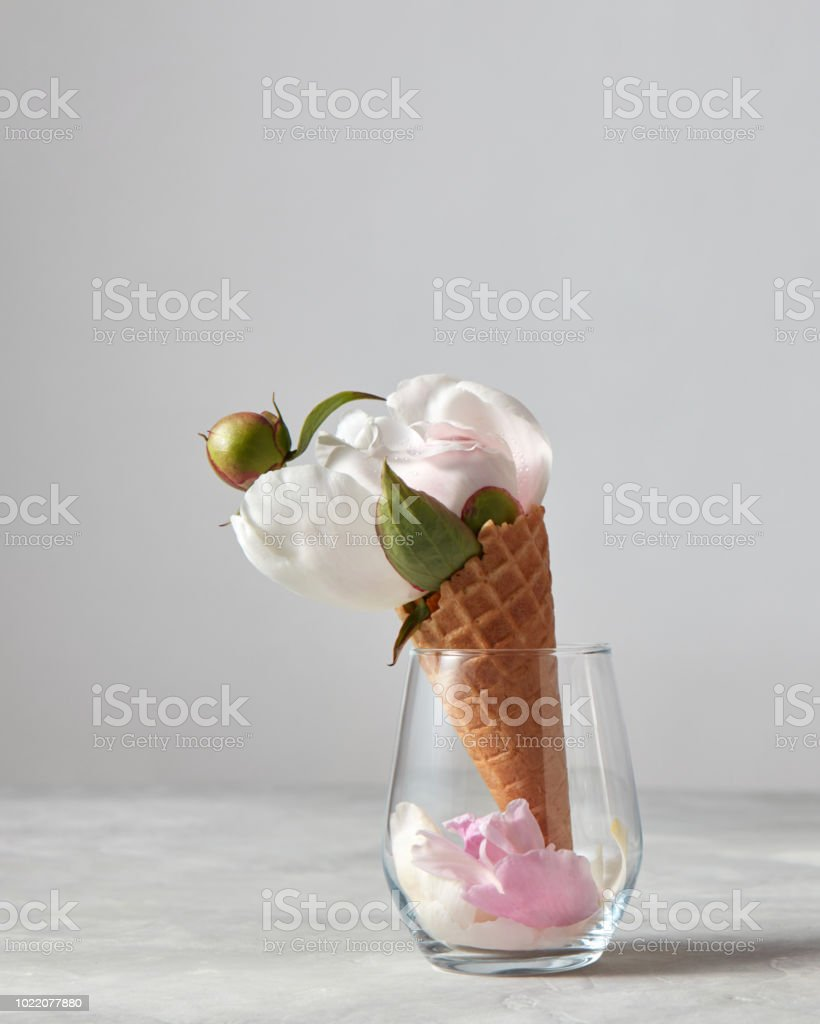 Gentle White Flower Bud And Green Leaf With Petals In Glass Vase On