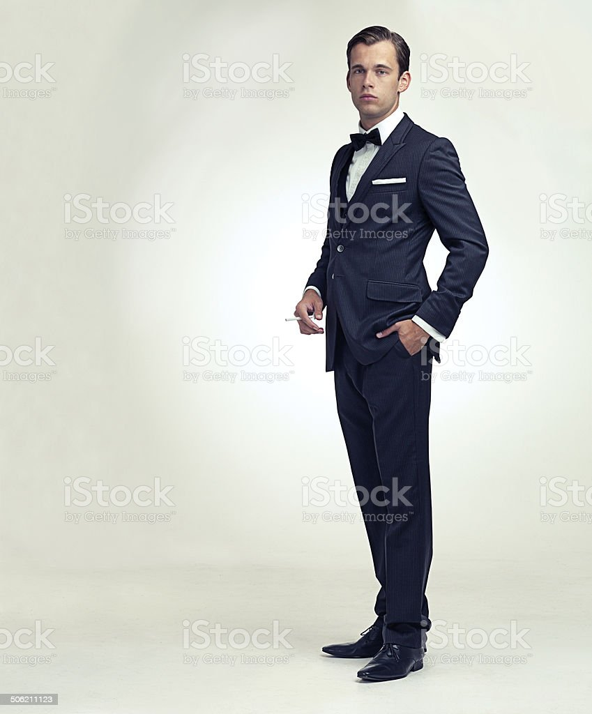 Gentleman and his cigarette stock photo