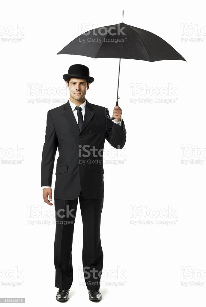 Gentleman Holding an Umbrella - Isolated stock photo