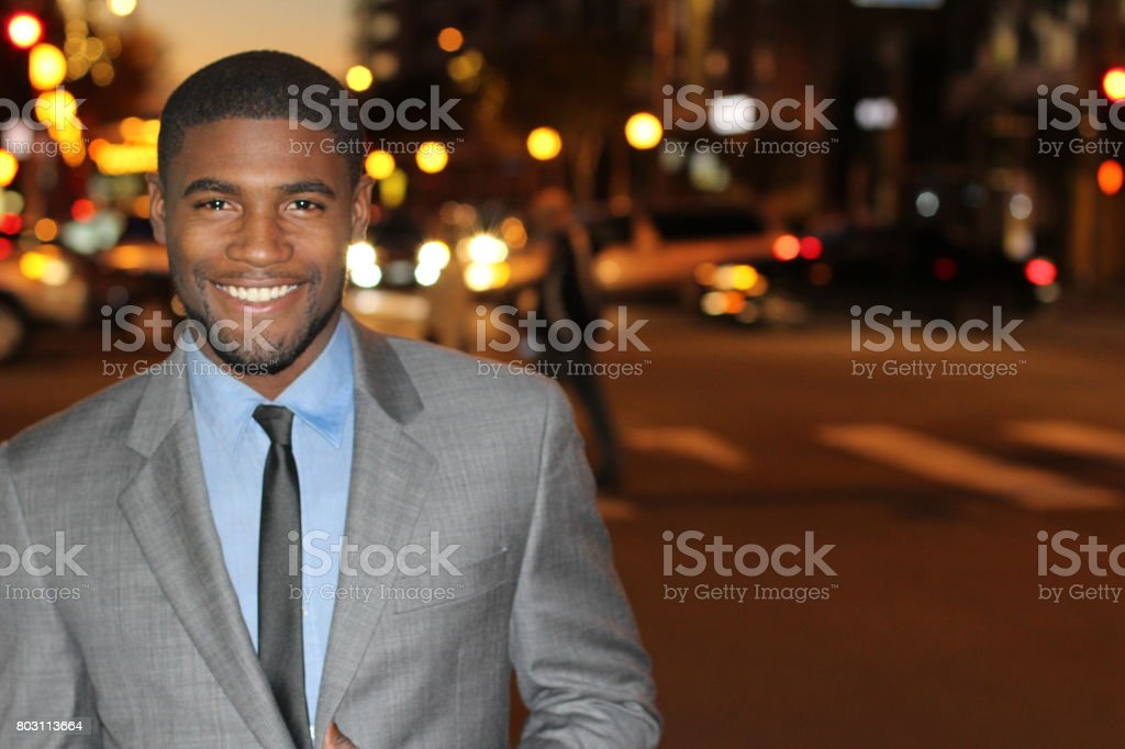 Gentleman in classic outfit smiling stock photo