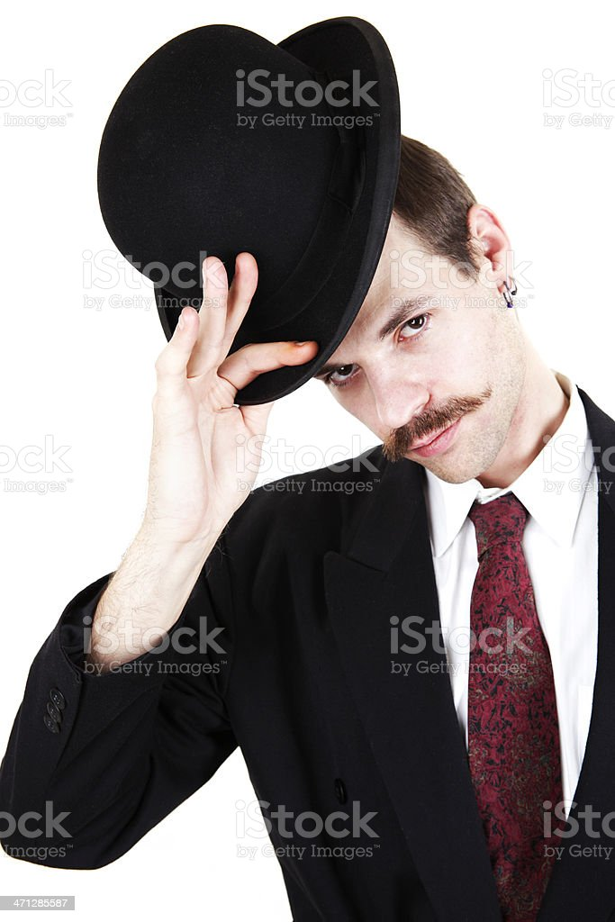 Gentleman Tipping Hat stock photo
