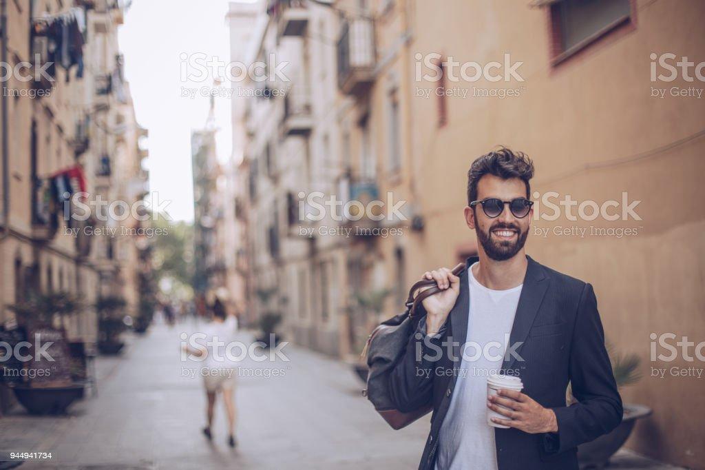 市のバッグと紳士 ストックフォト