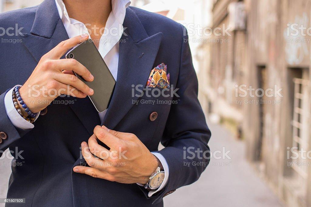 gentleman with smartphone Lizenzfreies stock-foto