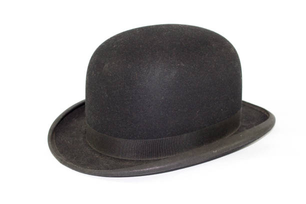 Gentleman's Bowler Hat on White Background stock photo