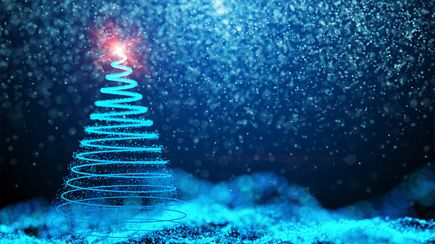 Gently falling snow with Christmas tree ストックフォト