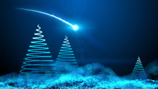 Gently falling snow with Christmas tree stock photo