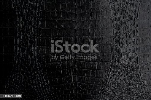 Genuine black Crocodile leather background in dark tone beautiful texture.