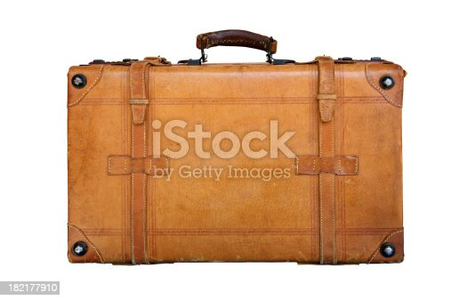 Classic style genuine leather suitcase isolated on white.