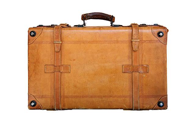 Genuine leather suitcase stock photo