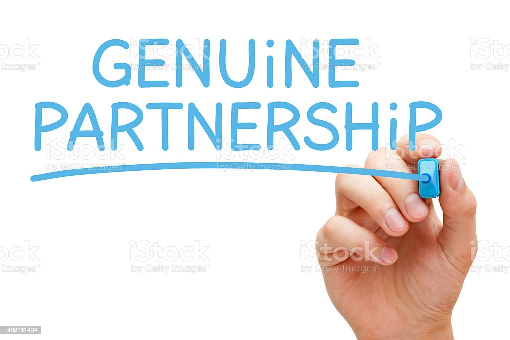 Genuine Partnership Blue Marker stock photo
