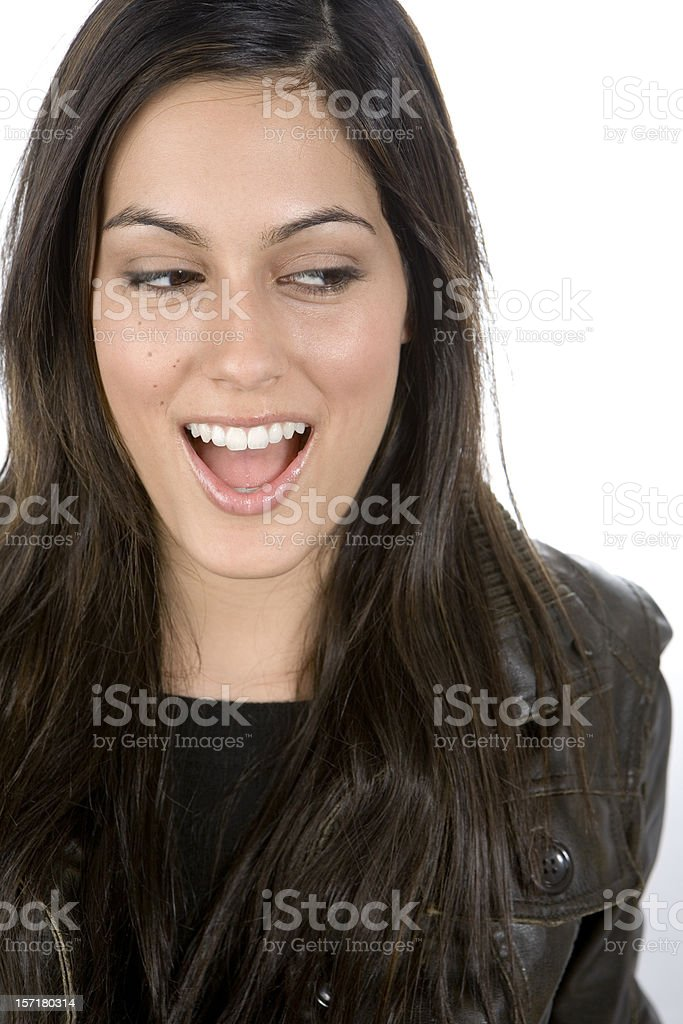 Genuine surprise and delight from a beautiful female Indian model royalty-free stock photo