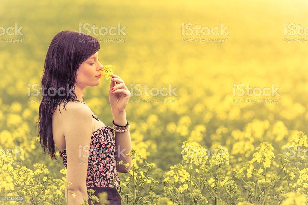 Fiori Gialli Nel Prato.Vera Donna Nel Prato Di Fiori Gialli Sniffing Fiore Fotografie