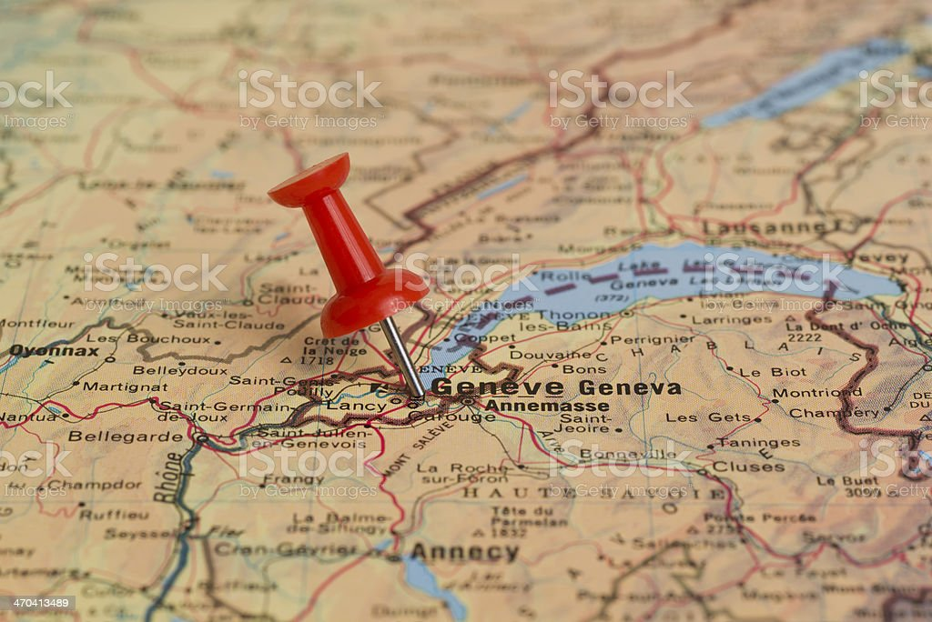 Genève Marked With Red Pushpin on Map stock photo
