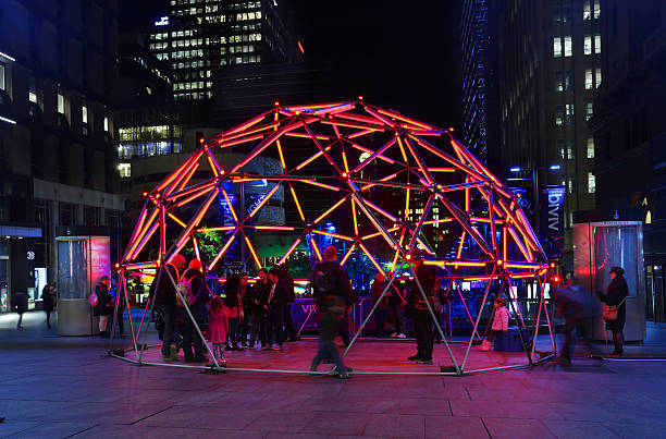 Geo Glow Dome in Martin Place Sydney during Vivid festival stock photo