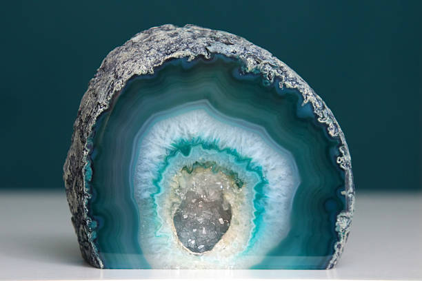 Geode Blue/green agate geode crystal with cut base closeup geode stock pictures, royalty-free photos & images