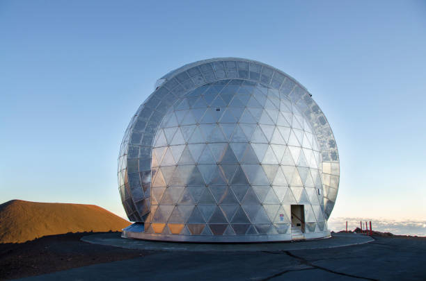 geodesic dome of Caltech Submillimeter Observatory, Mauna Kea Observatories, Hawaii stock photo