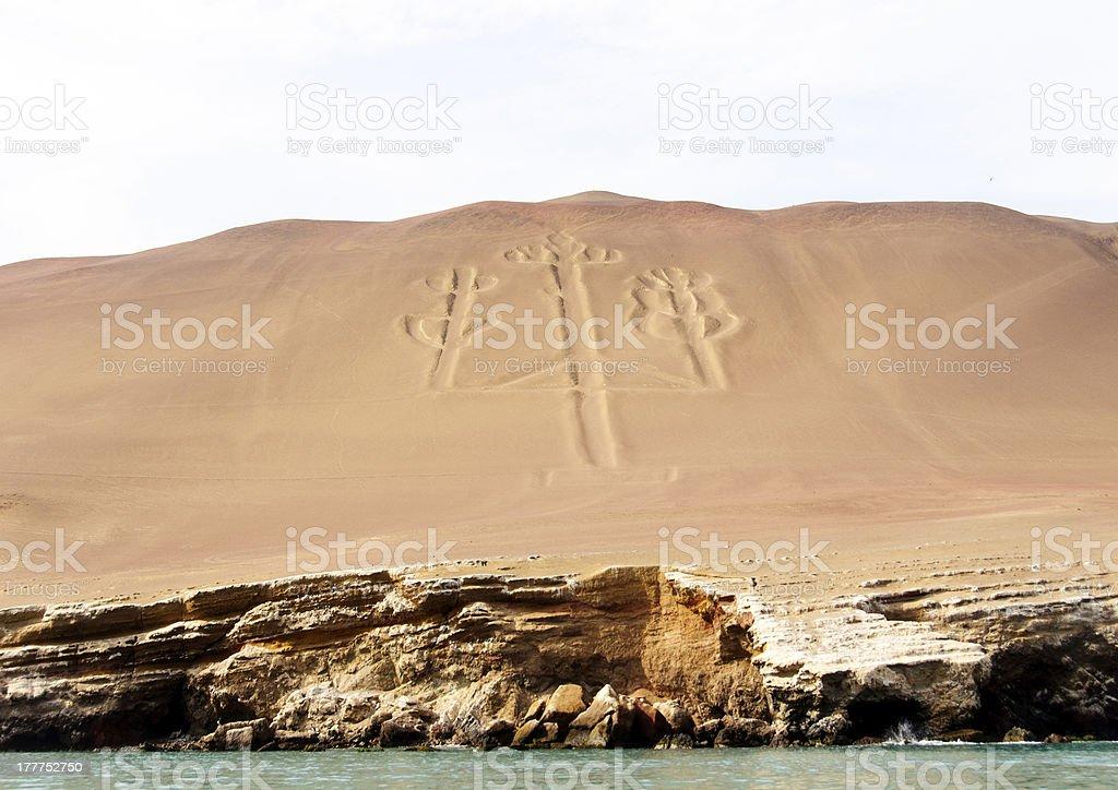 geoglyph on a coastal shore stock photo