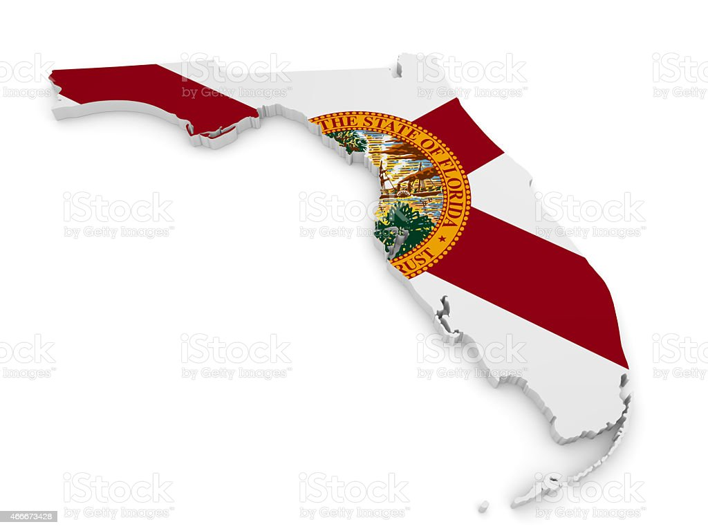 Geographic border map and flag of Florida, The Sunshine State stock photo
