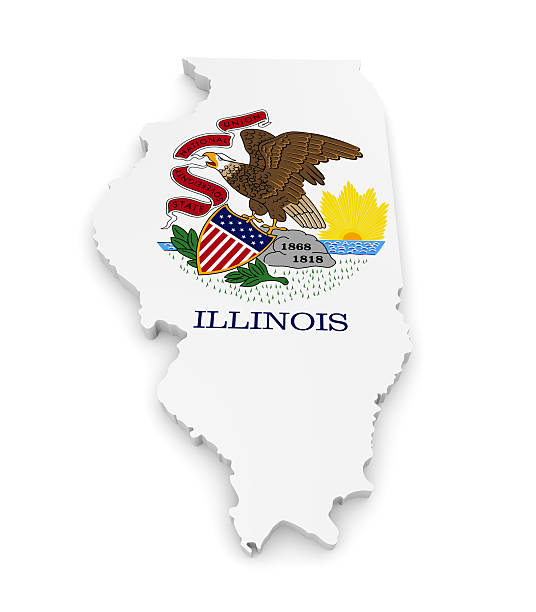 Geographic border map and flag of Illinois, The Prairie State stock photo