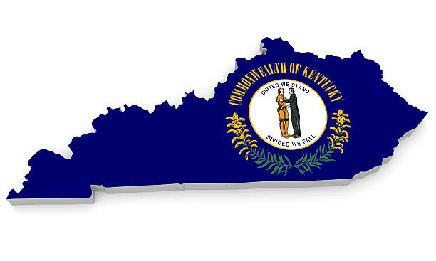 Geographic border map and flag of Kentucky, Bluegrass State stock photo