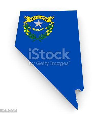 450754061istockphoto Geographic border map and flag of Nevada state isolated on a white background, 3D rendering 868955552