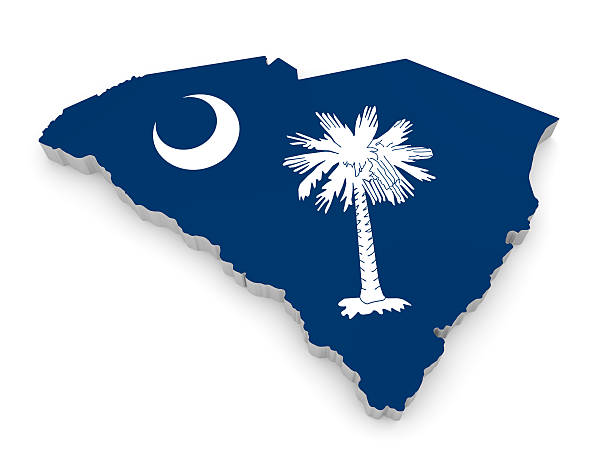 Geographic border map and flag of South Carolina, Palmetto State stock photo