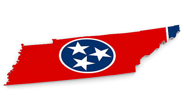 geographic border map and flag of tennessee, the volunteer state - tennessee map stock photos and pictures