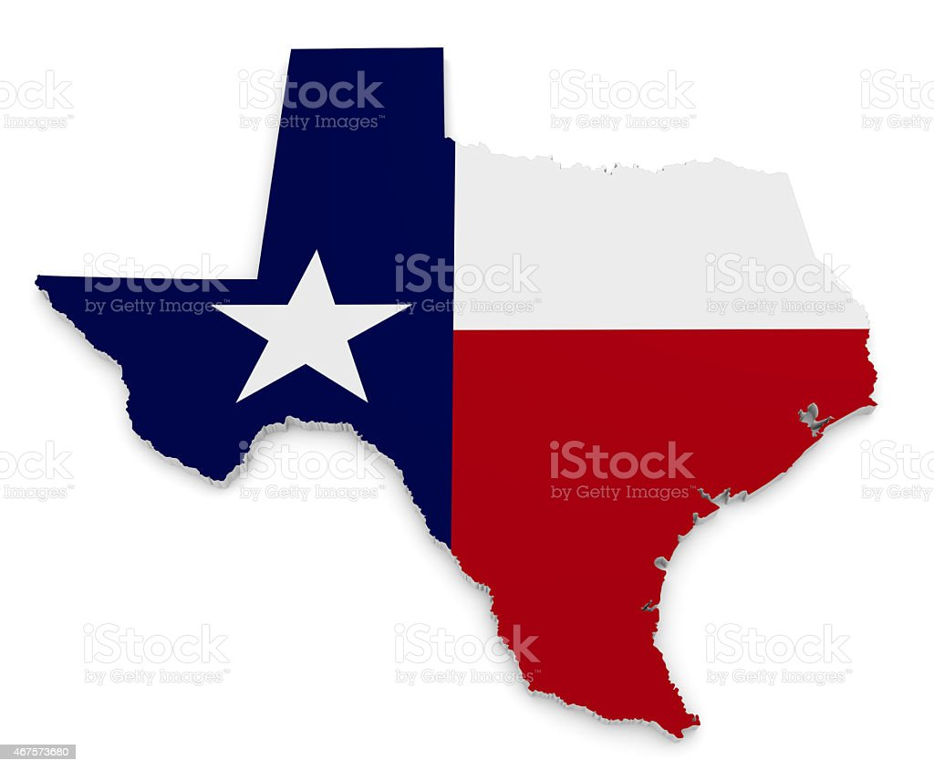 Geographic map and flag of Texas, The Lone Star State stock photo